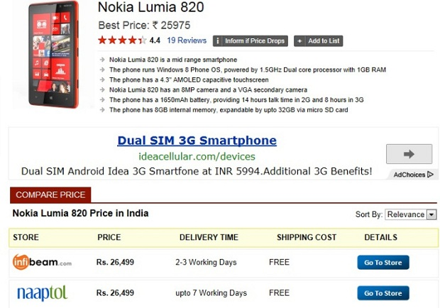 Buy Lumia 920 and 820 online in India 1