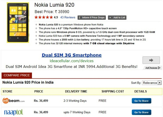 Buy Lumia 920 and 820 online in India