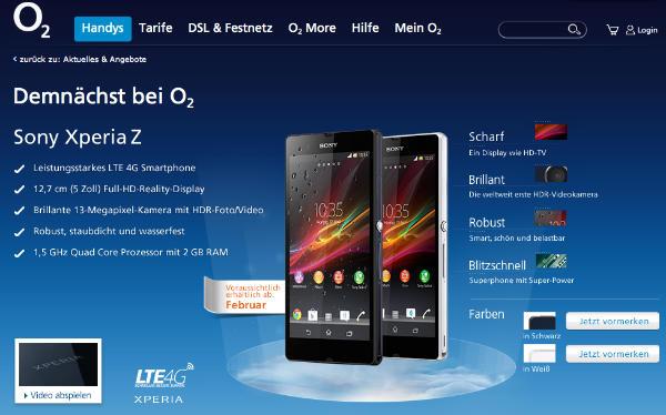 O2 Germany ready to offer Sony Xperia Z LTE