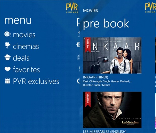 PVR Cinemas has released an app for Windows Phones