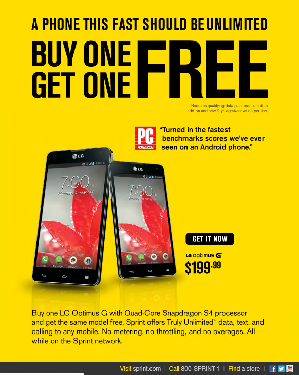 Sprint offers an attractive deal on the LG Optimus G