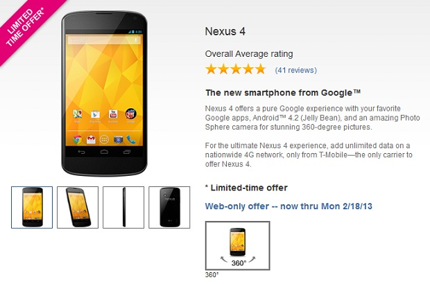 Get a cheaper Nexus 4 from T-Mobile