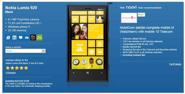 Lumia 920 in all colors sold out in Germany
