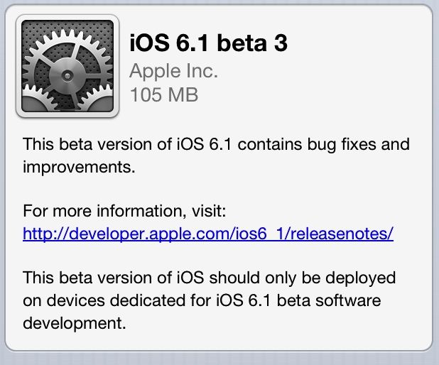 New update of iOS 6 comes out soon