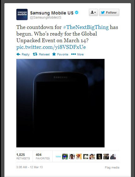 This is a screenshot of the tweet with the official Samsung Galaxy S4 picture.