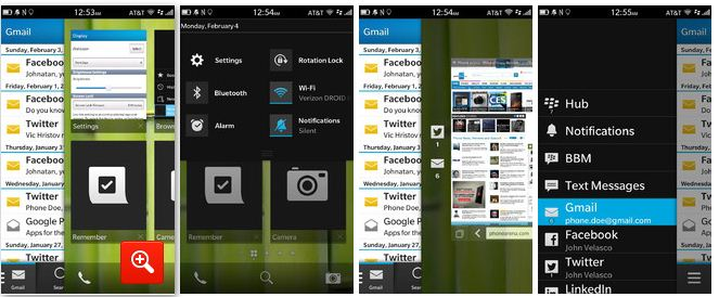 The 'Peek View' of BlackBerry Z10 will cover you up to the ears with notifications.