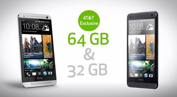 AT&T offers exclusively HTC One with 64GB memory.