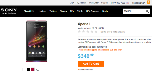Sony Xperia L arrives for US customers, priced at $349.99