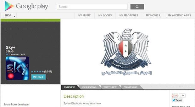 Sky's Apps logo and description in Google Play Store were replaced by the Syrian Electronic Army.