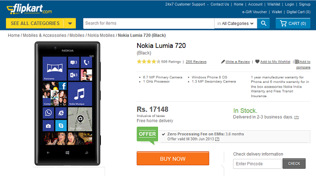 10 percent cut in prices for Nokia Lumia 720 in India