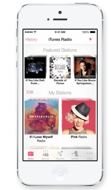 This is the new music feature in Apple iOS 7 - iTunes Radio.