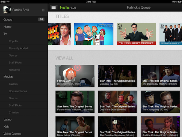 New version of Hulu Plus app designed for iPad users