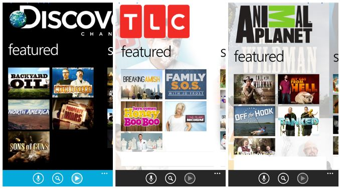 Three new apps for users of Windows Phone – TLC, Discover Channel and Animal Planet