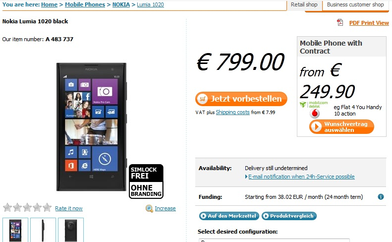 Nokia Lumia 1020 officially arrived in Germany in September