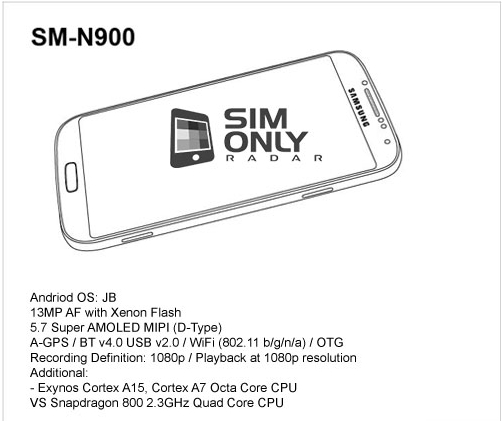 Samsung Galaxy Note 3 leaked, specs revealed