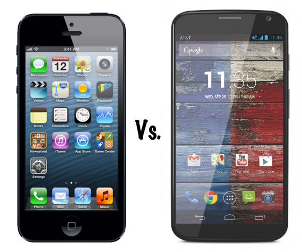 The iPhone and the Motorola Moto X are now rivals for the US market