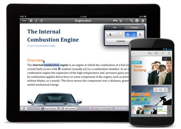 Quickoffice app with two new versions, for Android and iOS