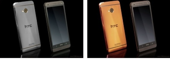 HTC One gold poses for the camera next to rose gold and platinum editions