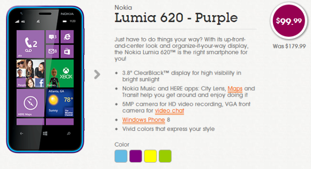 Buy Nokia Lumia 620 for $99.99 from Aio Wireless