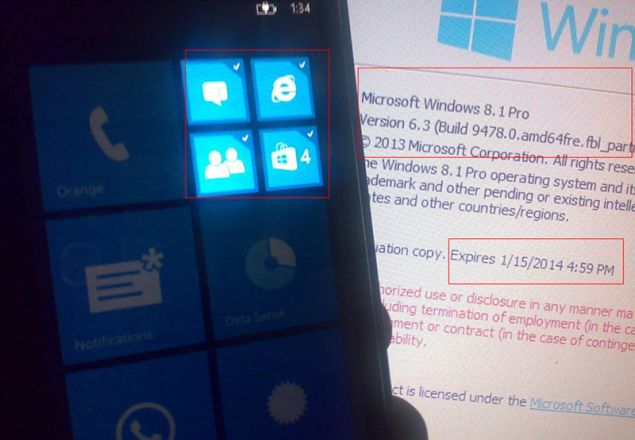 Leak with photos shows Windows Phone running devices with Live Tiles and Notification Center in the user interface