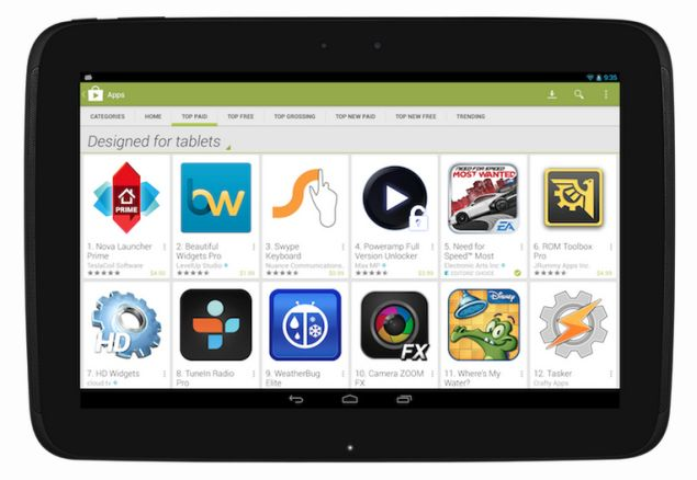 Google Play Store will provide better access to tablet-optimized apps for users and developers