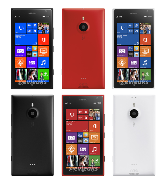 AT&T branded Lumia 1520 and Verizon branded Lumia 2520 appear in render photos