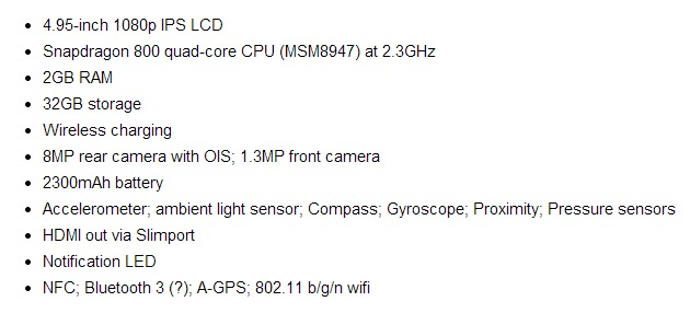 Nexus 5 list with specifications