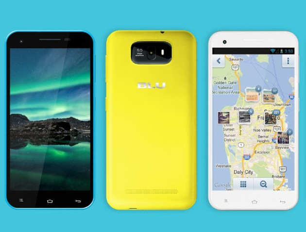 BLU Studio 5.5 in yellow front and back