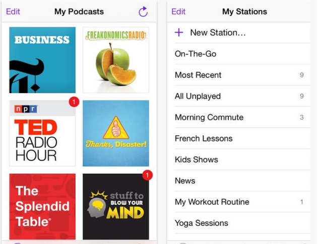 Podcasts 2 for iPhone screenshot showing my podcasts and my stations