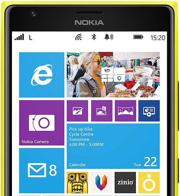 The first innovative large-sized smartphone that runs on Windows Phone is Nokia Lumia 1520