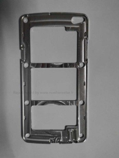 Samsung Galaxy S5 metal frame of the possible model. It could have a unibody design