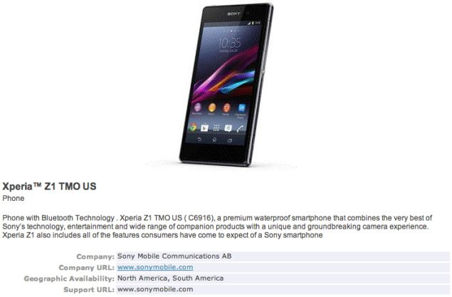 Sony Xperia Z1 will arrive in T-Mobile, confirmed in another leak from Bluetooth SIG