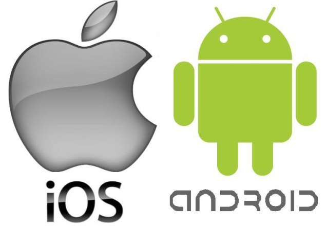 The phone market war between Android and iOS:  both companies logos