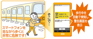 """The Japanese carrier Docomo has revealed the feature """"safety mode"""" to stop pedestrians from texting while walking"""