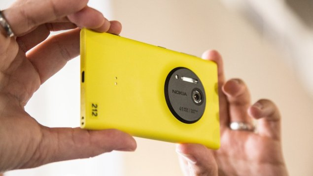 a yellow version of the Nokia Lumia 1020 cameraphone