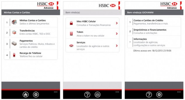 HSBC Windows Phone app for Brazil