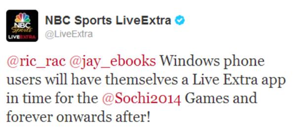 LiveExtra app Windows Phone Twitter announcement