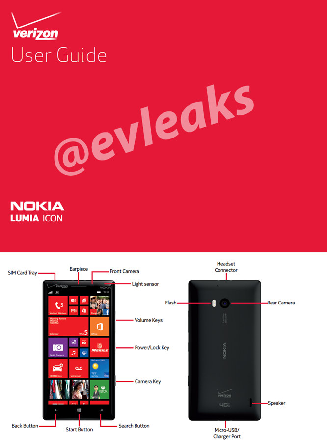 Nokia Lumia Icon spotted in a leak with a user manual and photos
