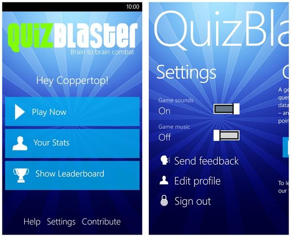QuizBlaster game menu