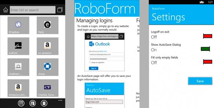 RoboForm app for Windows Phone