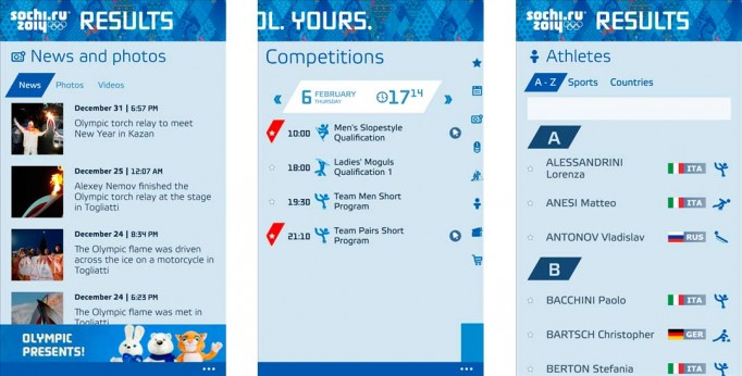 Sochi 2014 Results app