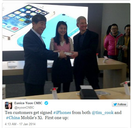 Tim Cook for iPhone sales on China Mobile