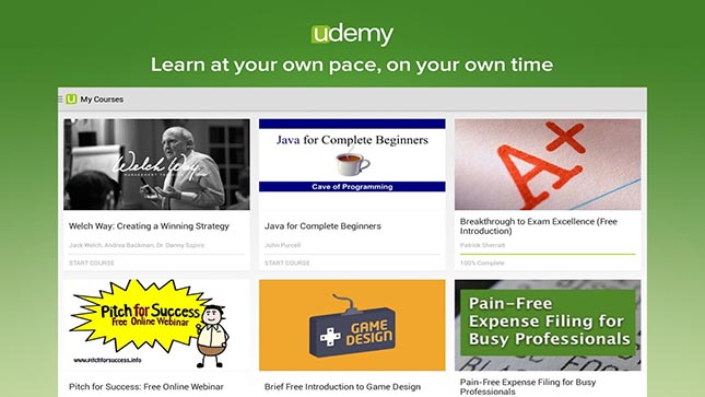 Udemy app for learning