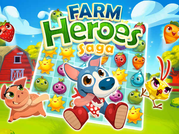 The Farm Heroes Saga mobile app can be synchronized with Facebook