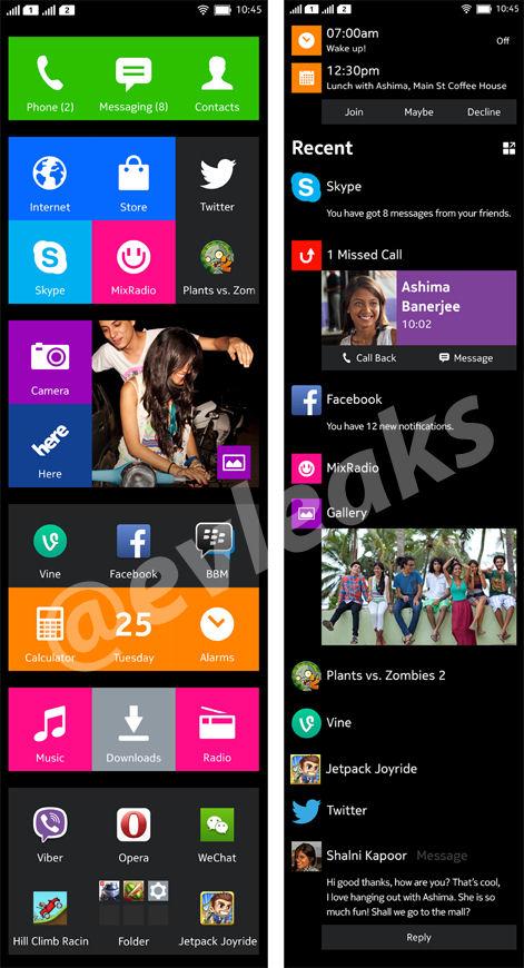 Nokia Normandy UI screens