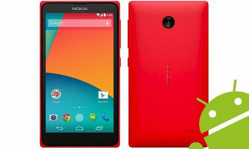 a red Nokia X Normandy with Android
