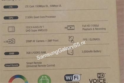Samsung Galaxy S5 specs unveiled ahead of its announcement in a leak of its alleged box