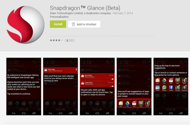 Qualcomm Snapdragon Glance Beta for Android