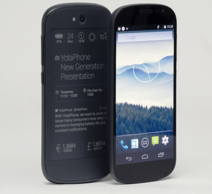 Press image of YotaPhone 2 from both sides