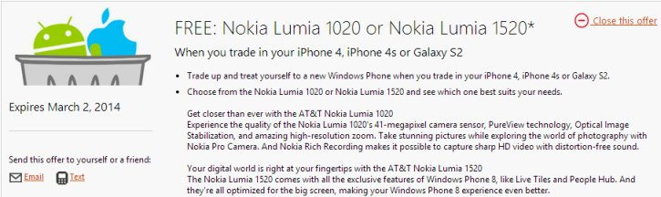 Conditions of the trade-in program for Lumia 1520 and 1020